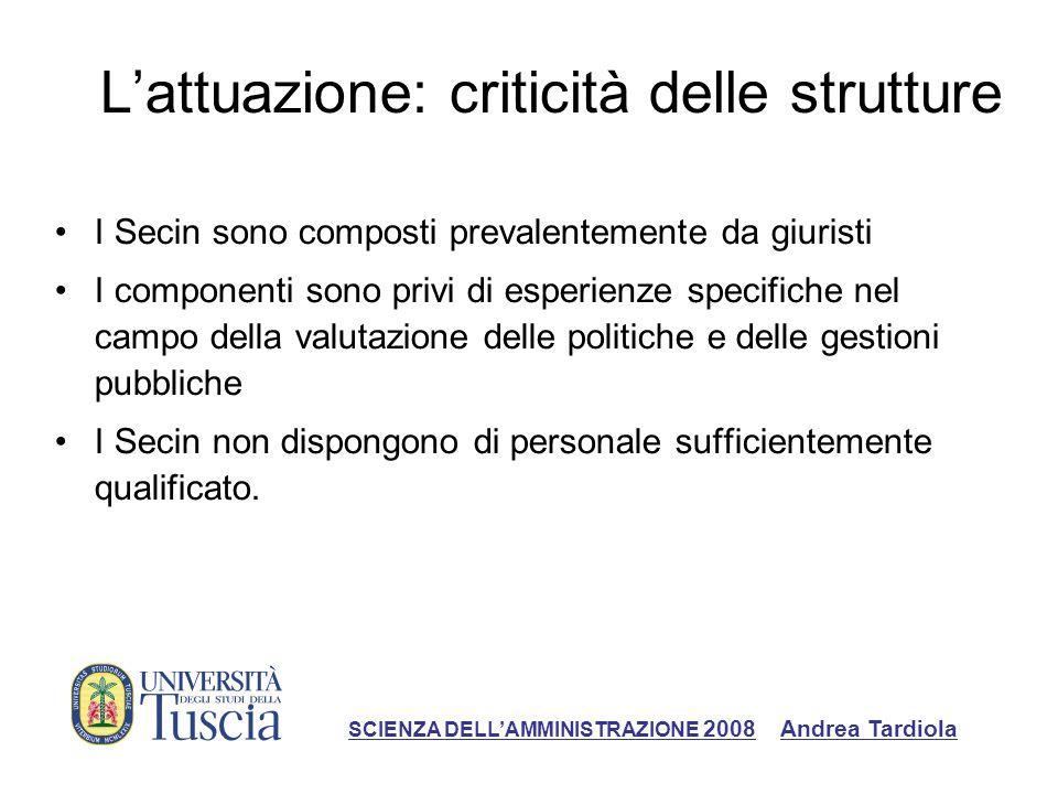 Lattuazione: criticità delle strutture I Secin sono composti prevalentemente da giuristi I componenti sono privi di esperienze specifiche nel campo de