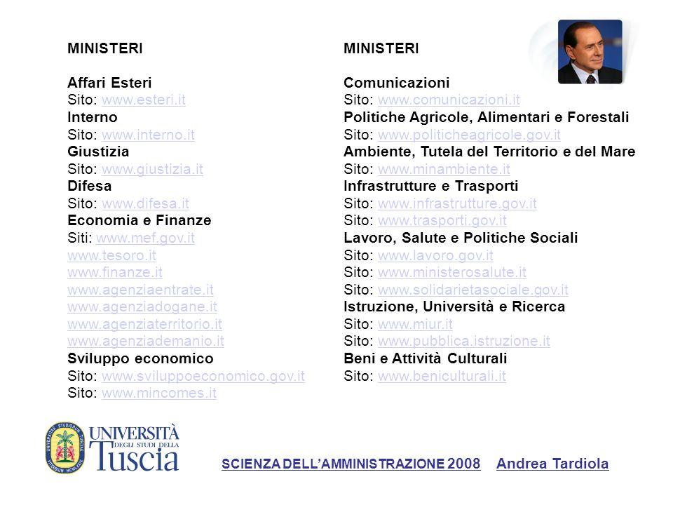 MINISTERI Affari Esteri Sito: www.esteri.itwww.esteri.it Interno Sito: www.interno.itwww.interno.it Giustizia Sito: www.giustizia.it Difesawww.giustiz