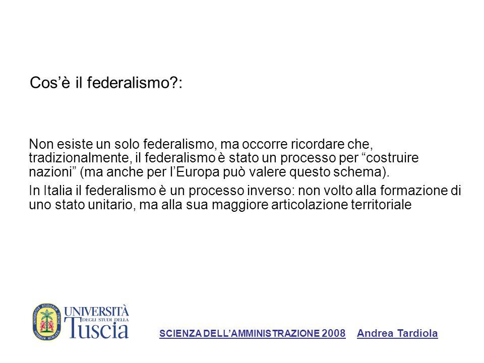 Cosè il federalismo?: Non esiste un solo federalismo, ma occorre ricordare che, tradizionalmente, il federalismo è stato un processo per costruire nazioni (ma anche per lEuropa può valere questo schema).