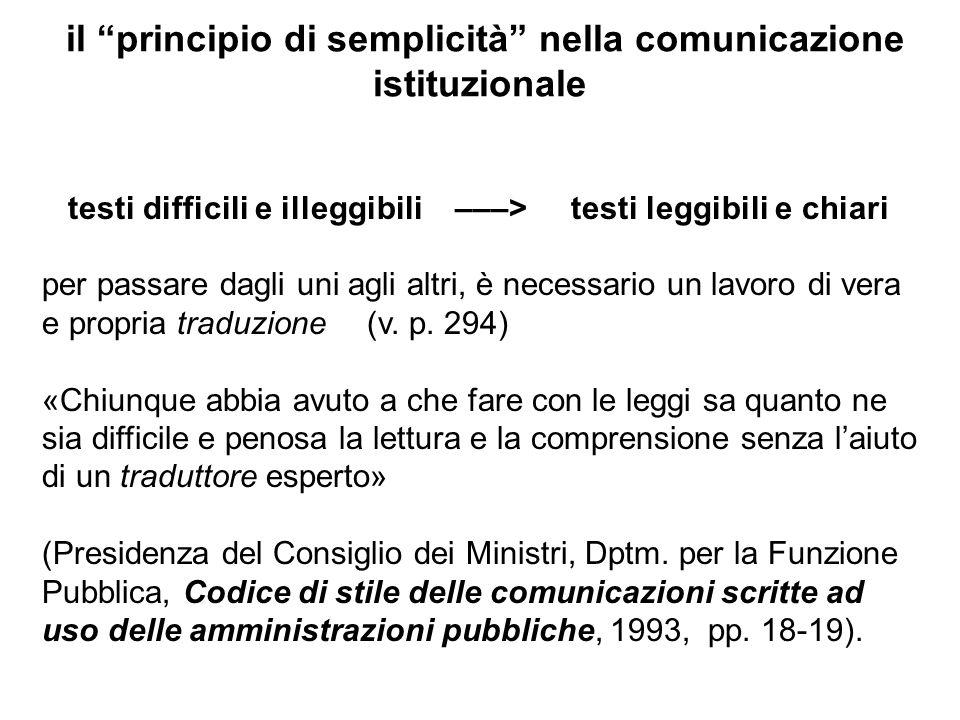 il principio di semplicità nella comunicazione istituzionale testi difficili e illeggibili –––> testi leggibili e chiari per passare dagli uni agli al