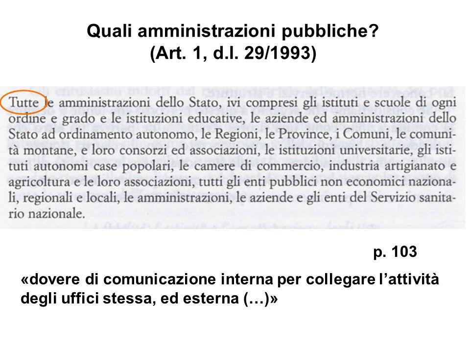 Quali amministrazioni pubbliche? (Art. 1, d.l. 29/1993) p. 103 «dovere di comunicazione interna per collegare lattività degli uffici stessa, ed estern