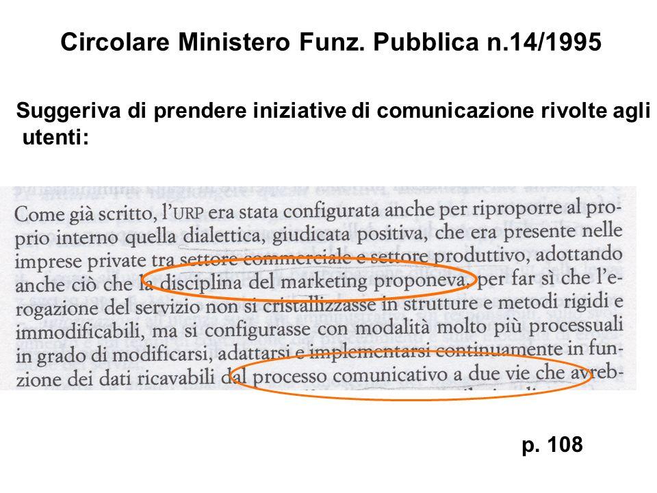 Circolare Ministero Funz. Pubblica n.14/1995 p. 108 Suggeriva di prendere iniziative di comunicazione rivolte agli utenti: