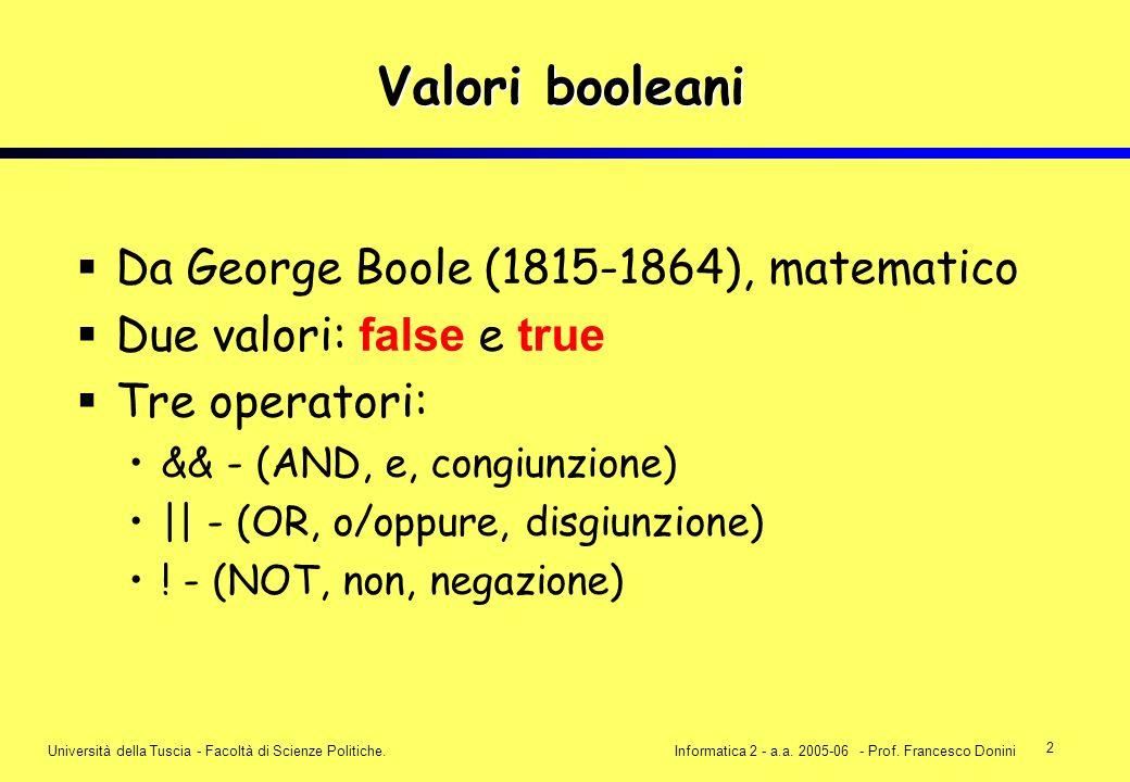 2 Università della Tuscia - Facoltà di Scienze Politiche.Informatica 2 - a.a. 2005-06 - Prof. Francesco Donini Valori booleani Da George Boole (1815-1