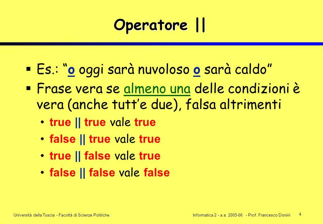4 Università della Tuscia - Facoltà di Scienze Politiche.Informatica 2 - a.a. 2005-06 - Prof. Francesco Donini Operatore || Es.: o oggi sarà nuvoloso