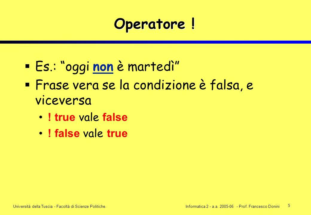 5 Università della Tuscia - Facoltà di Scienze Politiche.Informatica 2 - a.a. 2005-06 - Prof. Francesco Donini Operatore ! Es.: oggi non è martedì Fra