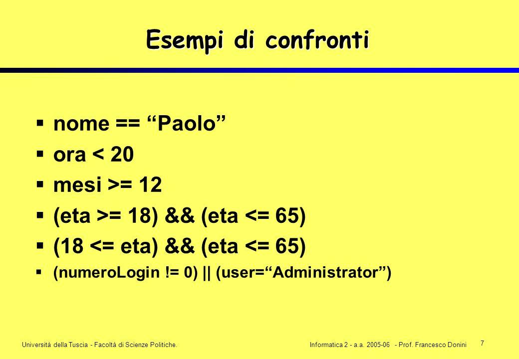 7 Università della Tuscia - Facoltà di Scienze Politiche.Informatica 2 - a.a. 2005-06 - Prof. Francesco Donini Esempi di confronti nome == Paolo ora <