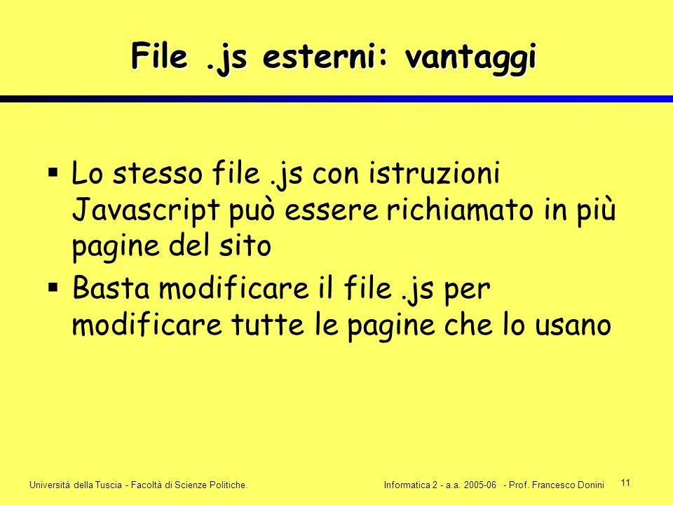 11 Università della Tuscia - Facoltà di Scienze Politiche.Informatica 2 - a.a. 2005-06 - Prof. Francesco Donini File.js esterni: vantaggi Lo stesso fi
