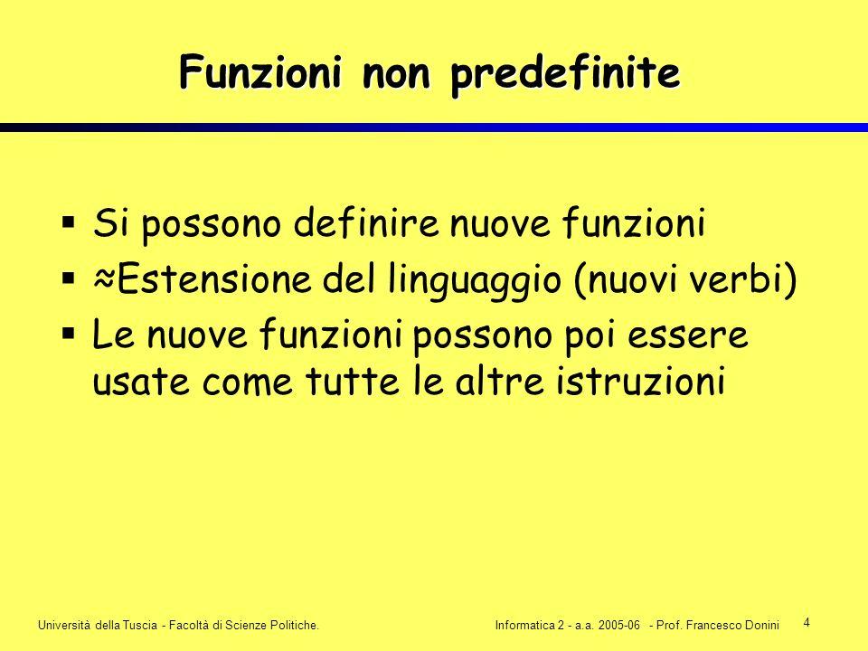 4 Università della Tuscia - Facoltà di Scienze Politiche.Informatica 2 - a.a. 2005-06 - Prof. Francesco Donini Funzioni non predefinite Si possono def
