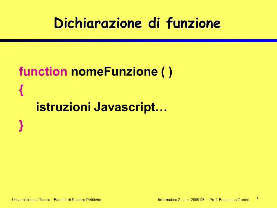 5 Università della Tuscia - Facoltà di Scienze Politiche.Informatica 2 - a.a. 2005-06 - Prof. Francesco Donini Dichiarazione di funzione function nome