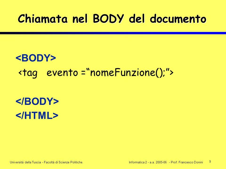 9 Università della Tuscia - Facoltà di Scienze Politiche.Informatica 2 - a.a. 2005-06 - Prof. Francesco Donini Chiamata nel BODY del documento