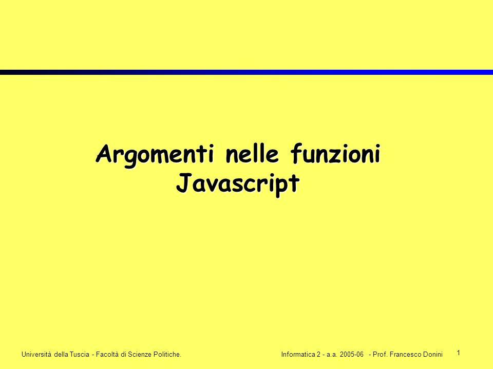 1 Università della Tuscia - Facoltà di Scienze Politiche.Informatica 2 - a.a. 2005-06 - Prof. Francesco Donini Argomenti nelle funzioni Javascript