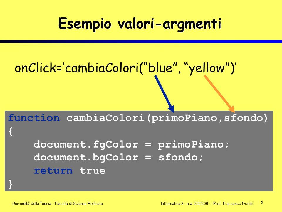 8 Università della Tuscia - Facoltà di Scienze Politiche.Informatica 2 - a.a. 2005-06 - Prof. Francesco Donini onClick=cambiaColori(blue, yellow) func