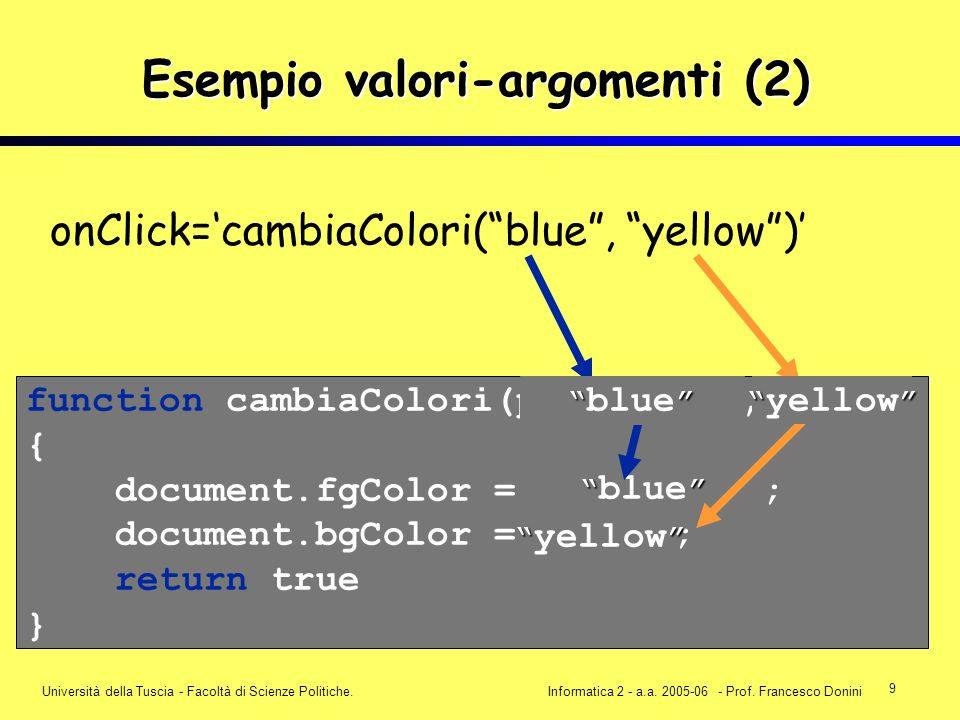 9 Università della Tuscia - Facoltà di Scienze Politiche.Informatica 2 - a.a. 2005-06 - Prof. Francesco Donini onClick=cambiaColori(blue, yellow) func