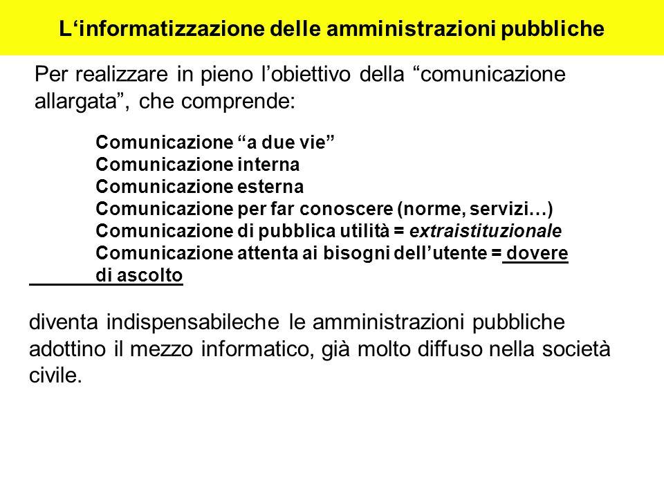 Linformatizzazione delle amministrazioni pubbliche Per realizzare in pieno lobiettivo della comunicazione allargata, che comprende: Comunicazione a du