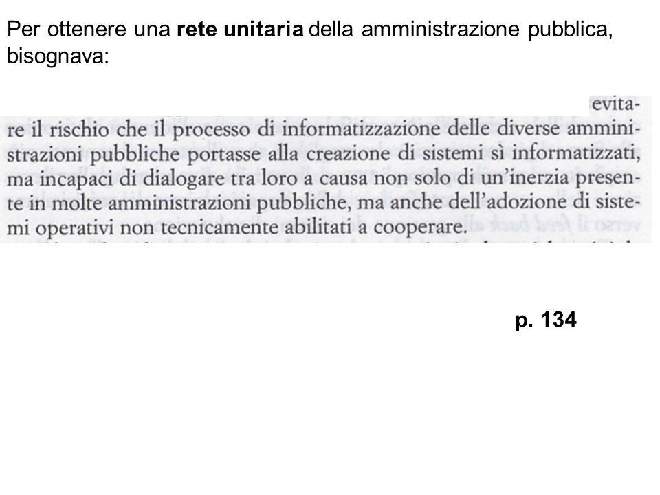 Per ottenere una rete unitaria della amministrazione pubblica, bisognava: p. 134