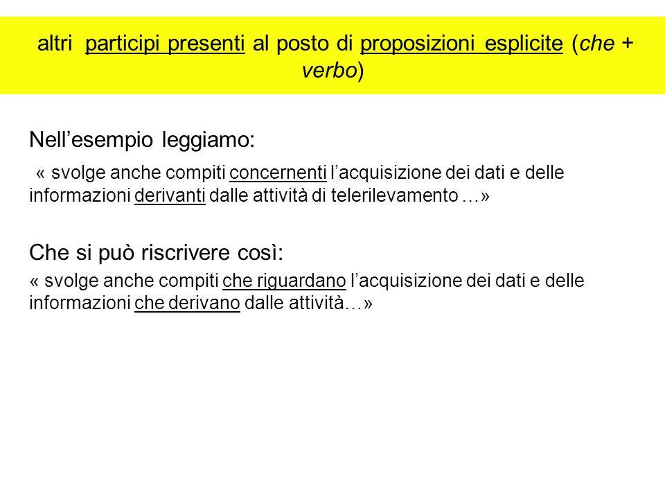 altri participi presenti al posto di proposizioni esplicite (che + verbo) Nellesempio leggiamo: « svolge anche compiti concernenti lacquisizione dei d