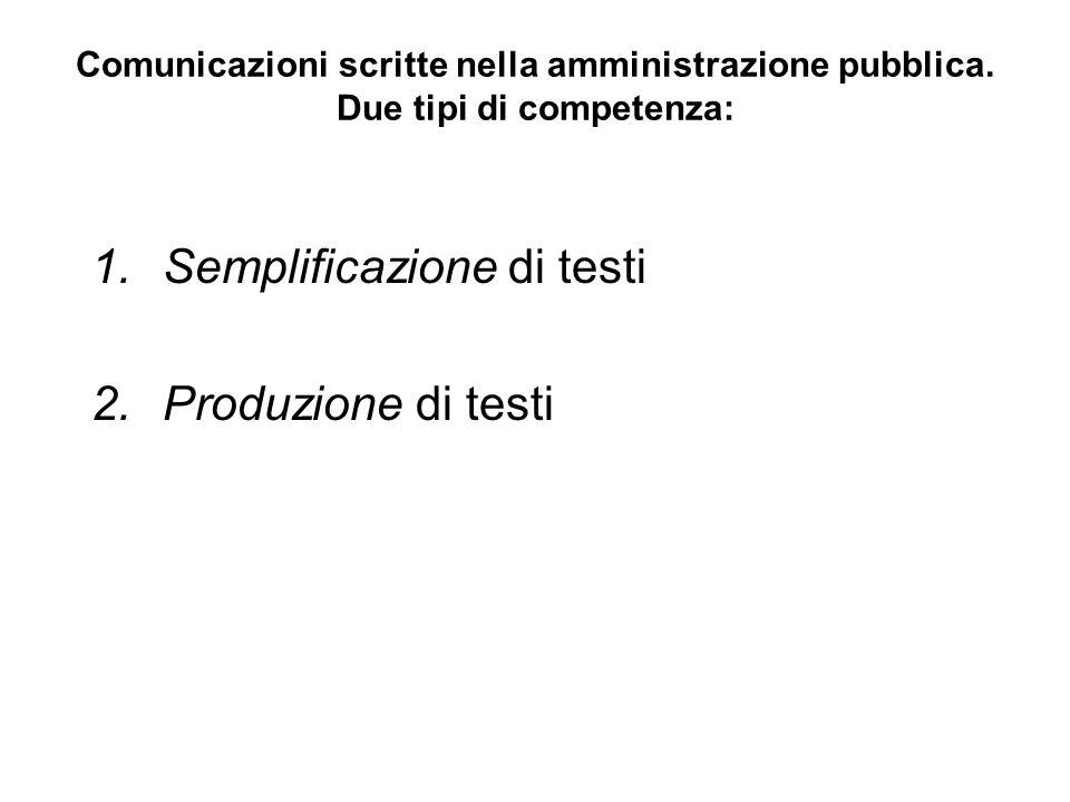 Comunicazioni scritte nella amministrazione pubblica. Due tipi di competenza: 1.Semplificazione di testi 2.Produzione di testi