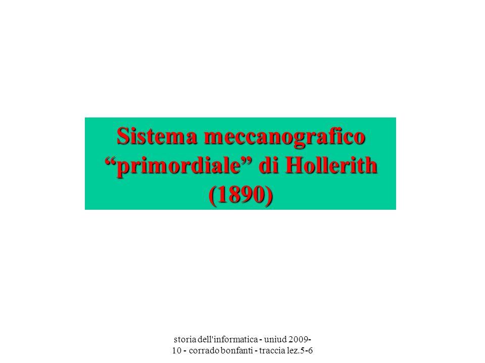 storia dell'informatica - uniud 2009- 10 - corrado bonfanti - traccia lez.5-6 Sistema meccanografico primordiale di Hollerith (1890)