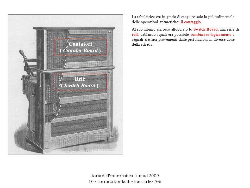 storia dell'informatica - uniud 2009- 10 - corrado bonfanti - traccia lez.5-6 La tabulatrice era in grado di eseguire solo la più rudimentale delle op