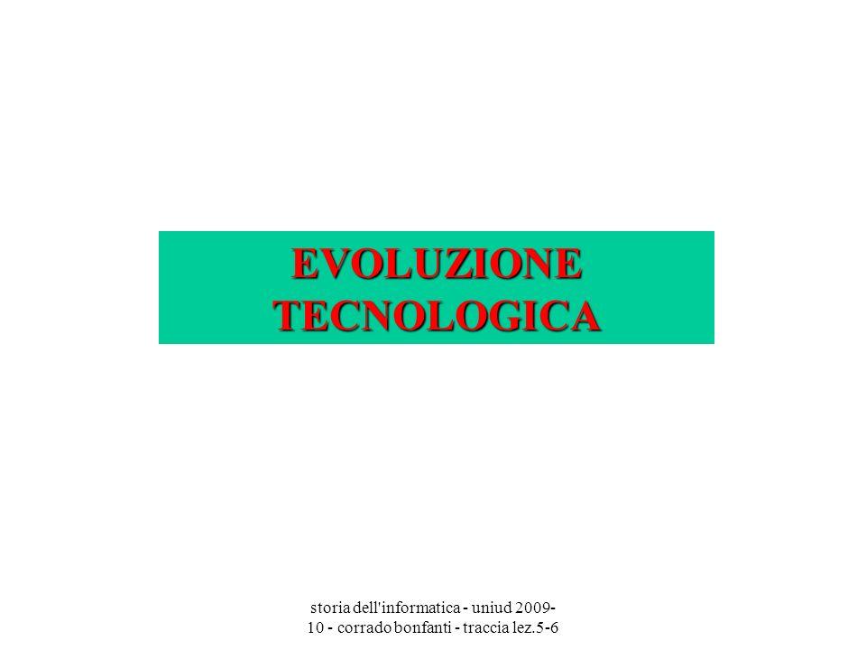 storia dell'informatica - uniud 2009- 10 - corrado bonfanti - traccia lez.5-6 EVOLUZIONE TECNOLOGICA