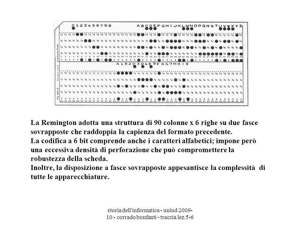 storia dell'informatica - uniud 2009- 10 - corrado bonfanti - traccia lez.5-6 La Remington adotta una struttura di 90 colonne x 6 righe su due fasce s