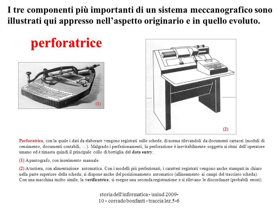 storia dell'informatica - uniud 2009- 10 - corrado bonfanti - traccia lez.5-6 Perforatrice, con la quale i dati da elaborare vengono registrati sulle