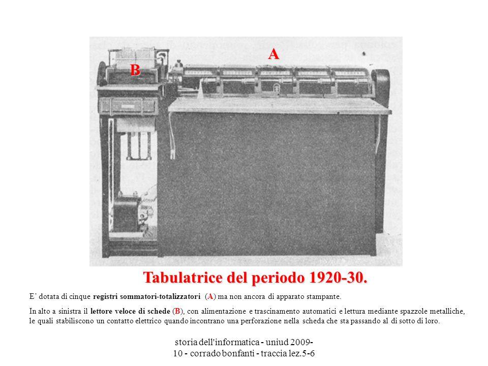 storia dell'informatica - uniud 2009- 10 - corrado bonfanti - traccia lez.5-6 Tabulatrice del periodo 1920-30. Tabulatrice del periodo 1920-30. E dota