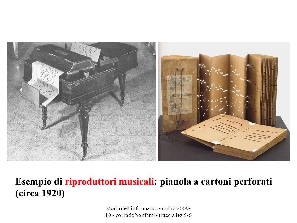 storia dell'informatica - uniud 2009- 10 - corrado bonfanti - traccia lez.5-6 riproduttori musicali Esempio di riproduttori musicali: pianola a carton