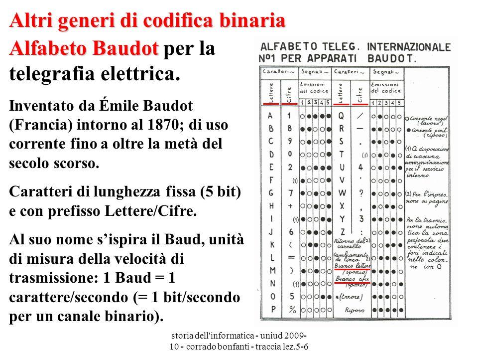 storia dell informatica - uniud 2009- 10 - corrado bonfanti - traccia lez.5-6 Altri generi di codifica binaria Alfabeto Baudot Alfabeto Baudot per la telegrafia elettrica.