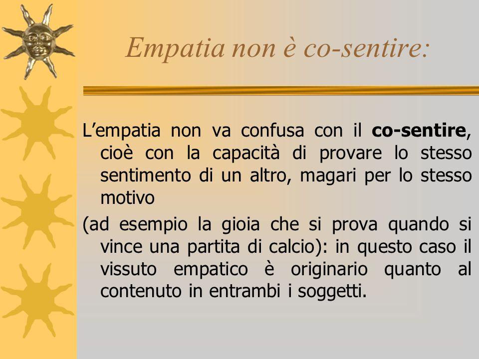 Empatia non è co-sentire: Lempatia non va confusa con il co-sentire, cioè con la capacità di provare lo stesso sentimento di un altro, magari per lo s