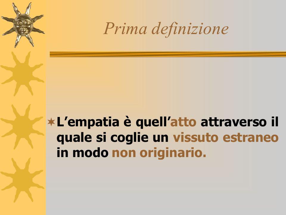 Prima definizione Lempatia è quellatto attraverso il quale si coglie un vissuto estraneo in modo non originario.