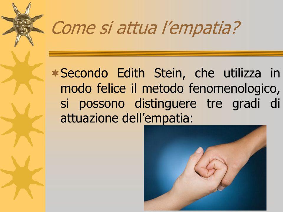 Come si attua lempatia? Secondo Edith Stein, che utilizza in modo felice il metodo fenomenologico, si possono distinguere tre gradi di attuazione dell