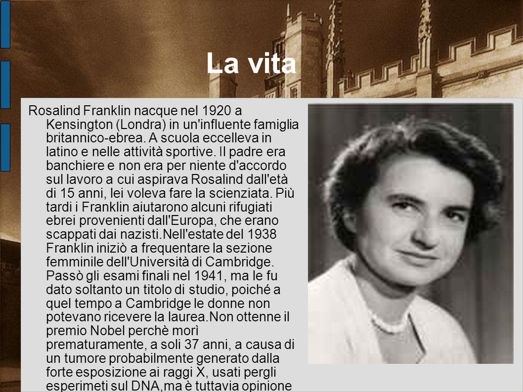 La vita Rosalind Franklin nacque nel 1920 a Kensington (Londra) in un'influente famiglia britannico-ebrea. A scuola eccelleva in latino e nelle attivi