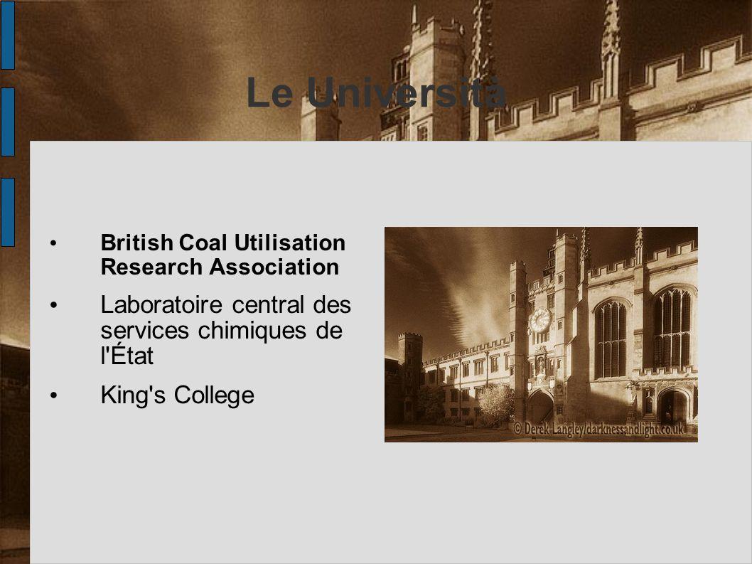 Le Università British Coal Utilisation Research Association Laboratoire central des services chimiques de l'État King's College