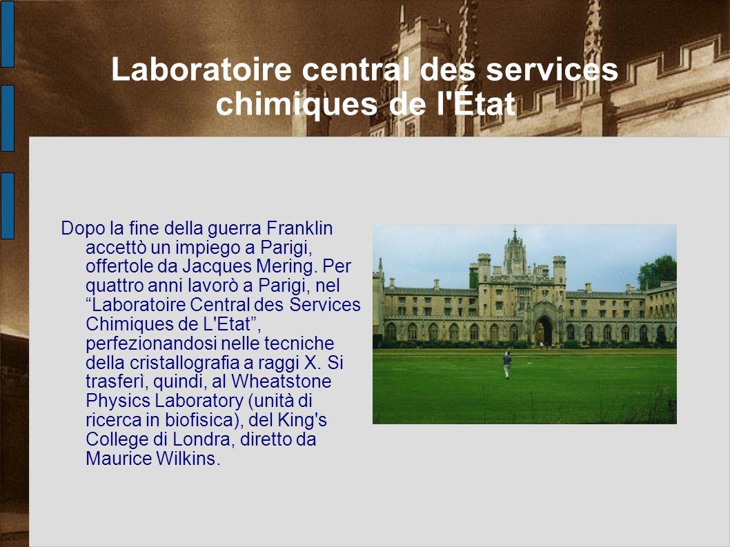 Laboratoire central des services chimiques de l'État Dopo la fine della guerra Franklin accettò un impiego a Parigi, offertole da Jacques Mering. Per
