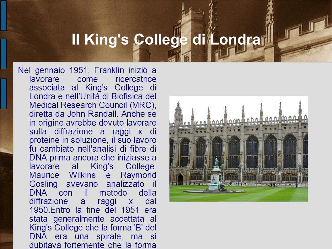 Il King's College di Londra Nel gennaio 1951, Franklin iniziò a lavorare come ricercatrice associata al King's College di Londra e nell'Unità di Biofi