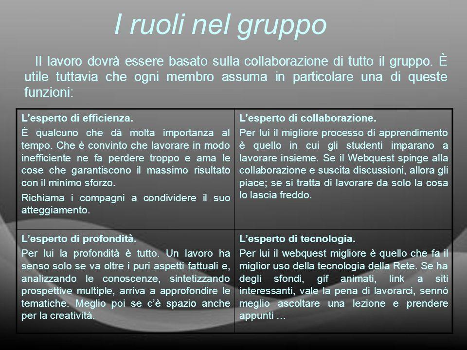 I ruoli nel gruppo Il lavoro dovrà essere basato sulla collaborazione di tutto il gruppo. È utile tuttavia che ogni membro assuma in particolare una d