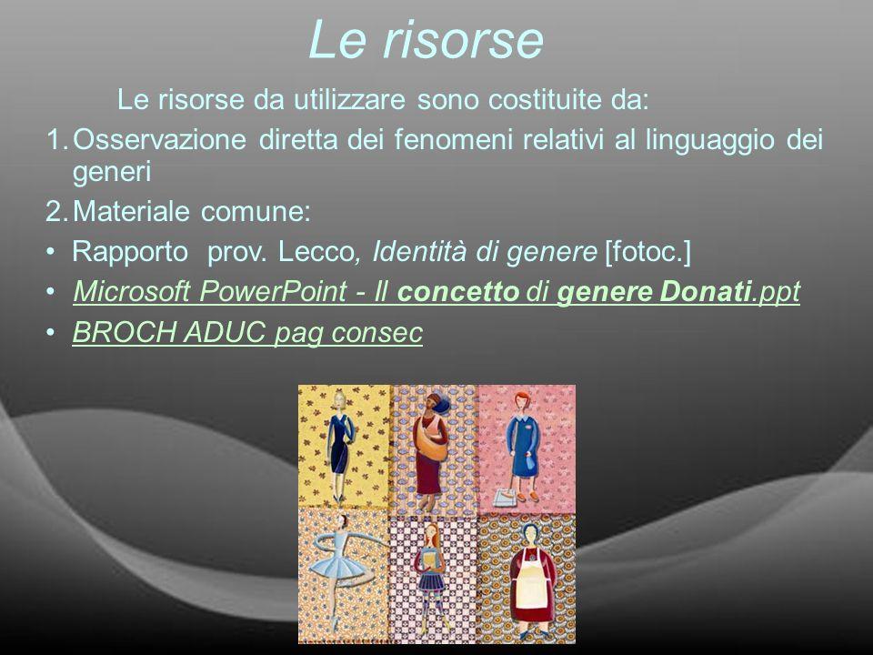 Le risorse Le risorse da utilizzare sono costituite da: 1.Osservazione diretta dei fenomeni relativi al linguaggio dei generi 2.Materiale comune: Rapp