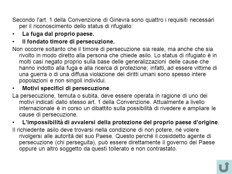 Secondo l'art. 1 della Convenzione di Ginevra sono quattro i requisiti necessari per il riconoscimento dello status di rifugiato: La fuga dal proprio
