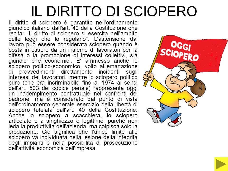 IL DIRITTO DI SCIOPERO Il diritto di sciopero è garantito nell'ordinamento giuridico italiano dall'art. 40 della Costituzione che recita: