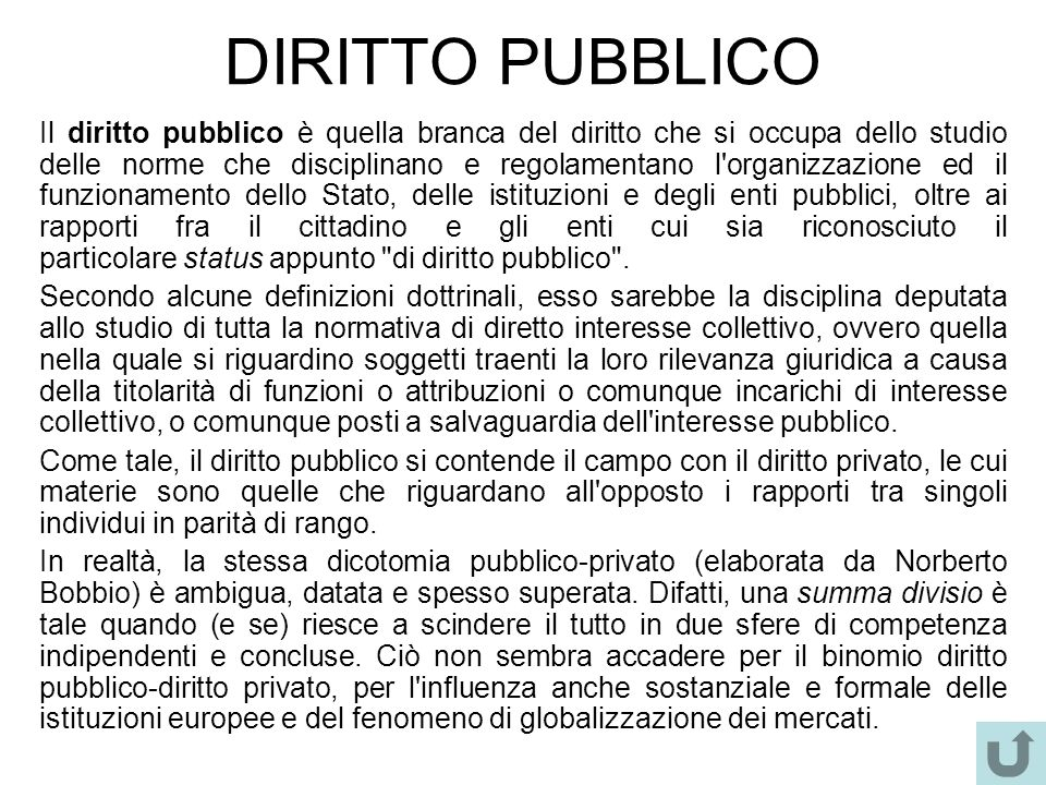 DIRITTO PUBBLICO Il diritto pubblico è quella branca del diritto che si occupa dello studio delle norme che disciplinano e regolamentano l'organizzazi