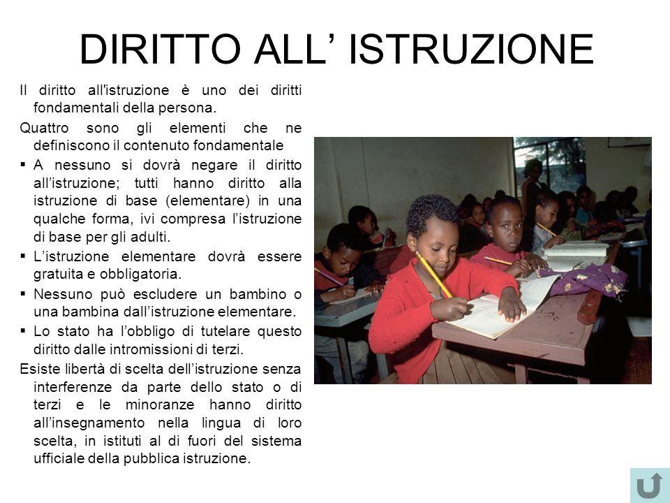 DIRITTO ALL ISTRUZIONE Il diritto all'istruzione è uno dei diritti fondamentali della persona. Quattro sono gli elementi che ne definiscono il contenu