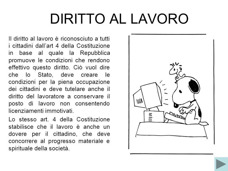 DIRITTO AL LAVORO Il diritto al lavoro è riconosciuto a tutti i cittadini dallart 4 della Costituzione in base al quale la Repubblica promuove le cond