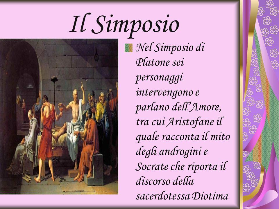 Il Simposio Nel Simposio di Platone sei personaggi intervengono e parlano dellAmore, tra cui Aristofane il quale racconta il mito degli androgini e So