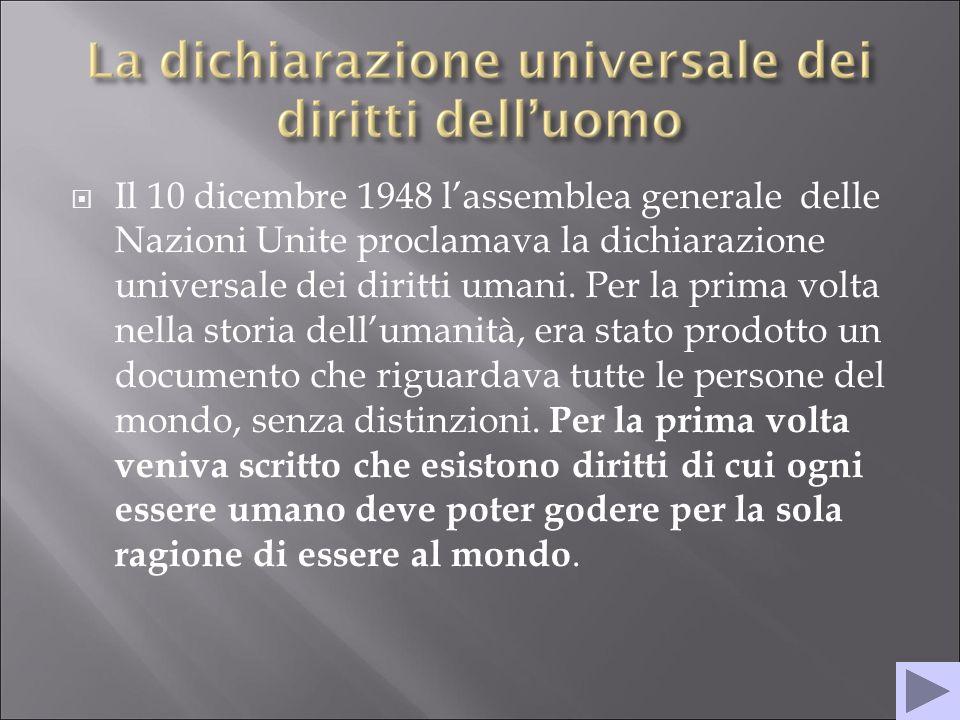 Il 10 dicembre 1948 lassemblea generale delle Nazioni Unite proclamava la dichiarazione universale dei diritti umani.