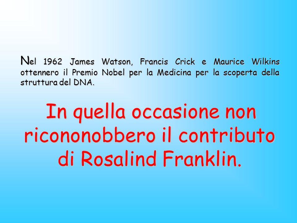 N el 1962 James Watson, Francis Crick e Maurice Wilkins ottennero il Premio Nobel per la Medicina per la scoperta della struttura del DNA. In quella o