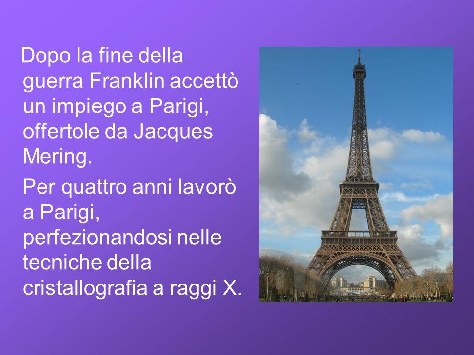 Dopo la fine della guerra Franklin accettò un impiego a Parigi, offertole da Jacques Mering. Per quattro anni lavorò a Parigi, perfezionandosi nelle t