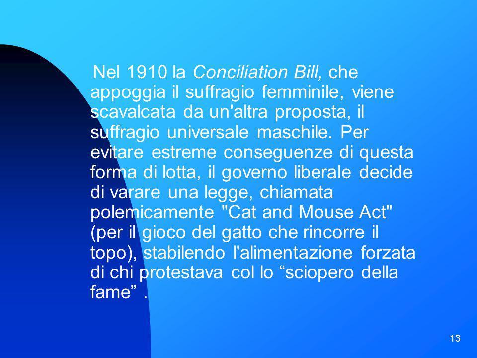 13 Nel 1910 la Conciliation Bill, che appoggia il suffragio femminile, viene scavalcata da un'altra proposta, il suffragio universale maschile. Per ev