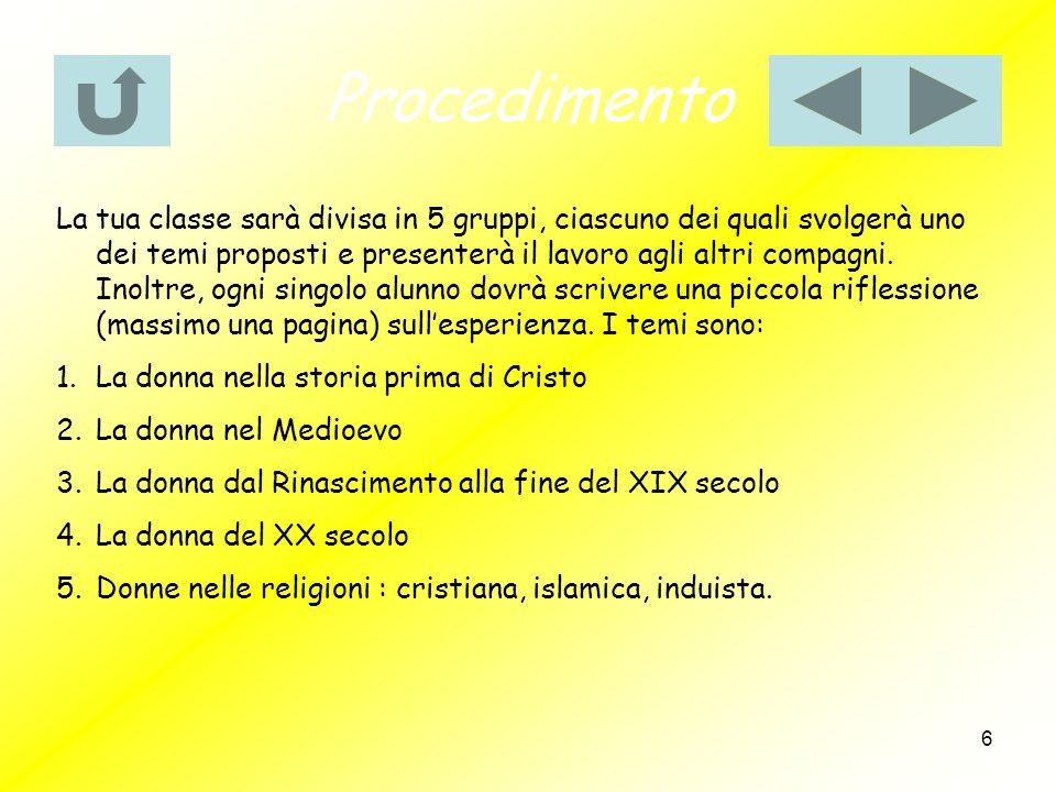7 Risorse Qui saranno forniti una serie di siti che potrete usare … Gruppo 1: http://skuola.tiscali.it/letteratura-italiana-classica/odissea-omero/vita-donna-grecia- omero.htmlhttp://skuola.tiscali.it/letteratura-italiana-classica/odissea-omero/vita-donna-grecia- omero.html http://www.atuttascuola.it/siti/fuse/condizione_femminile_roma_antica.htm http://digilander.libero.it/ombradeglidei/donna.htm Gruppo 2: http://www.letteraturaalfemminile.it/donnenelmedioevo.htmhttp://www.letteraturaalfemminile.it/donnenelmedioevo.htm http://www.monteforti.eu/Giorgio%20Monteforti/doncor.html http://www.delfo.forli-cesena.it/SSAGRARIO/medioevo/donnamed.htm Gruppo 3:http://www.italiadonna.it/public/percorsi/01052/0105255.htmhttp://www.italiadonna.it/public/percorsi/01052/0105255.htm Gruppo 4: http://www.italiadonna.it/societa/donne_mondo_index.htmhttp://www.italiadonna.it/societa/donne_mondo_index.htm http://www.comune.firenze.it/progettodonna/libro_donne.pdf http://www.pbmstoria.it/dizionari/storia_mod/d/d089.htm Gruppo 5: http://www.dimensionesperanza.it/modules/xfsection/article.php?articleid=4423http://www.dimensionesperanza.it/modules/xfsection/article.php?articleid=4423 http://www.radicicristiane.it/fondo.php/id/200/ref/7/Storia/La-donna-nel- Cristianesimo http://www.geocities.com/indjan/donna.htm http://www.sanpaolo.org/cisf/donnaislam.htm