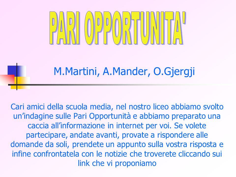 M.Martini, A.Mander, O.Gjergji Cari amici della scuola media, nel nostro liceo abbiamo svolto unindagine sulle Pari Opportunità e abbiamo preparato una caccia allinformazione in internet per voi.